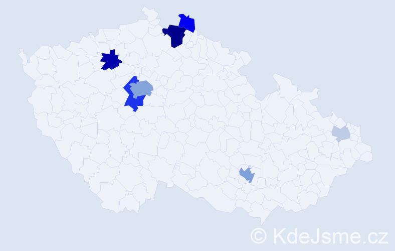 Příjmení: 'Babiaková', počet výskytů 23 v celé ČR