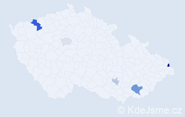 Příjmení: 'Leblanc', počet výskytů 5 v celé ČR