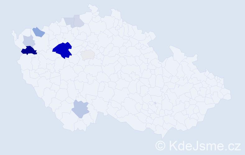 Příjmení: 'Bestajovská', počet výskytů 20 v celé ČR