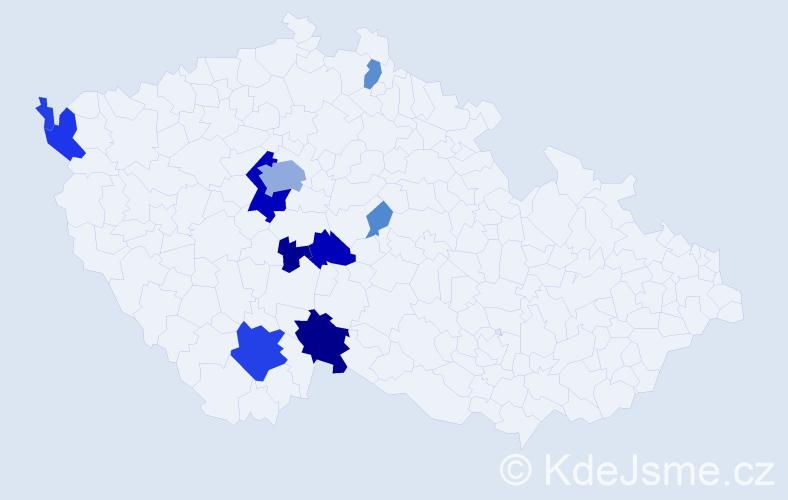 Příjmení: 'Fantyš', počet výskytů 38 v celé ČR