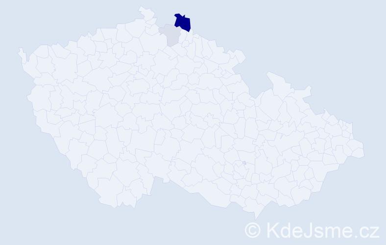 Příjmení: 'Kniga', počet výskytů 6 v celé ČR
