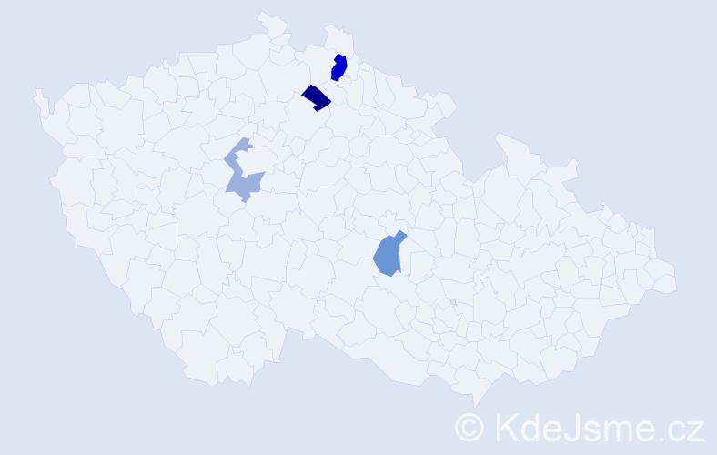 Příjmení: 'Dolhy', počet výskytů 6 v celé ČR