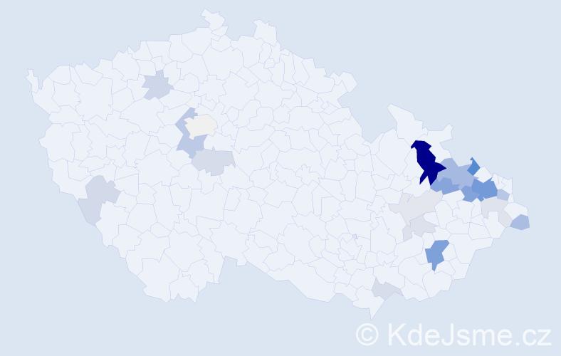 Příjmení: 'Balušek', počet výskytů 64 v celé ČR