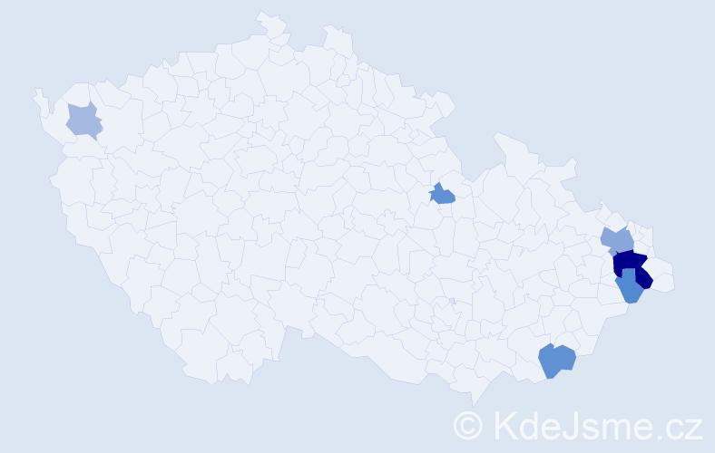 Příjmení: 'Gurňáková', počet výskytů 17 v celé ČR