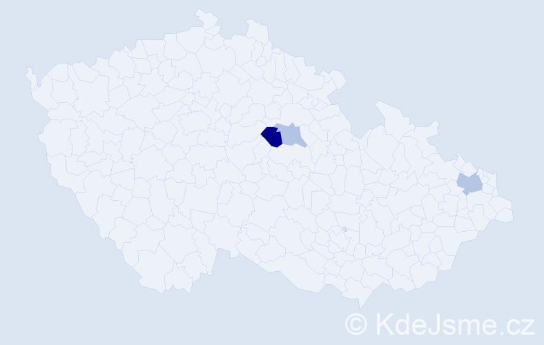 Příjmení: 'Cápay', počet výskytů 5 v celé ČR