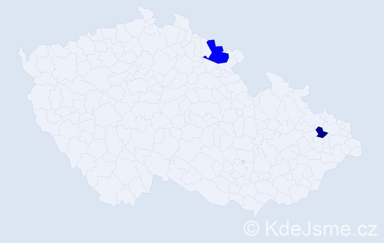 Příjmení: 'Capovič', počet výskytů 3 v celé ČR