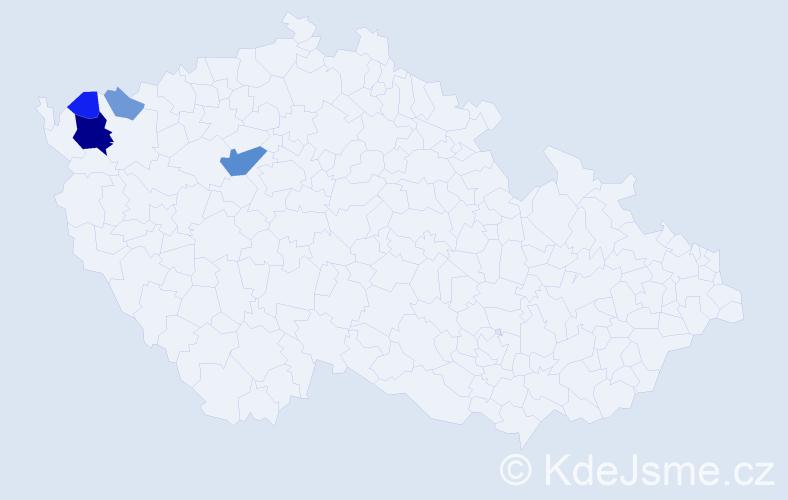 Příjmení: 'Kačírová', počet výskytů 13 v celé ČR