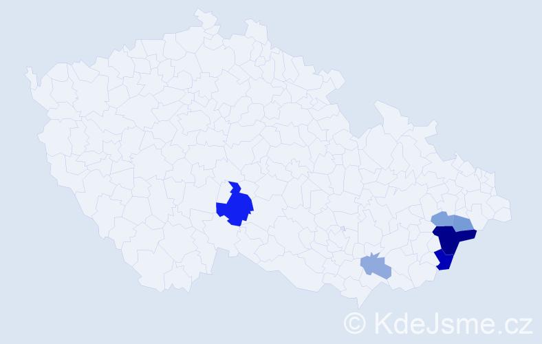 Příjmení: 'Kalvoster', počet výskytů 14 v celé ČR