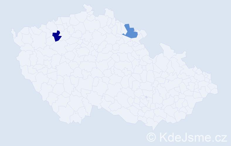 Příjmení: 'Laskavá', počet výskytů 2 v celé ČR
