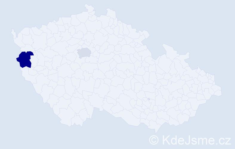 Příjmení: 'Čekei', počet výskytů 2 v celé ČR