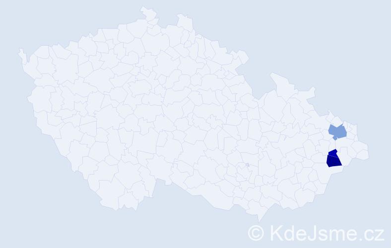 Příjmení: 'Hanasová', počet výskytů 6 v celé ČR