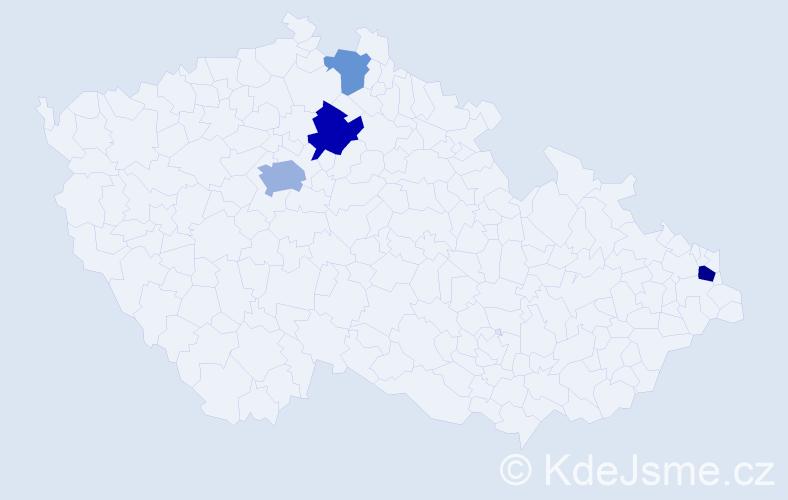 Příjmení: 'Baitl', počet výskytů 8 v celé ČR