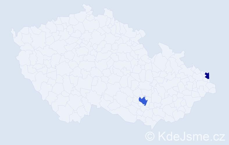Příjmení: 'Čaďa', počet výskytů 3 v celé ČR