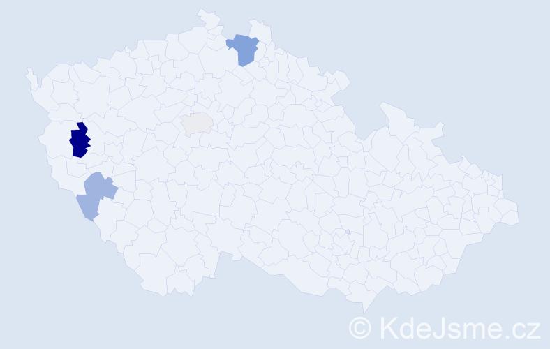 Příjmení: 'Deličová', počet výskytů 7 v celé ČR