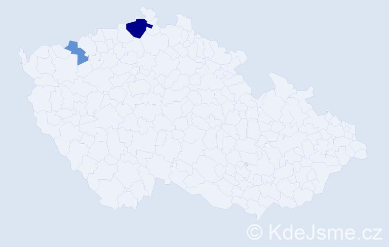 Příjmení: 'Damu', počet výskytů 25 v celé ČR