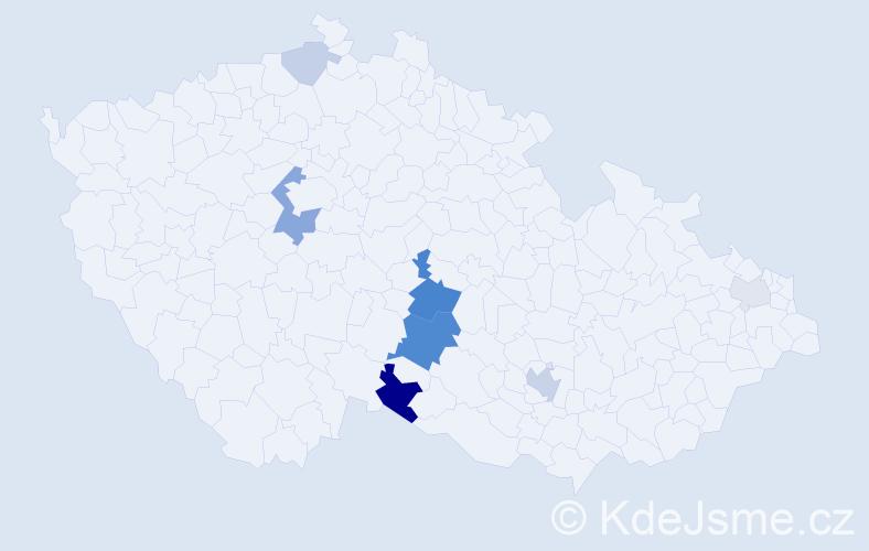 Příjmení: 'Bišof', počet výskytů 21 v celé ČR