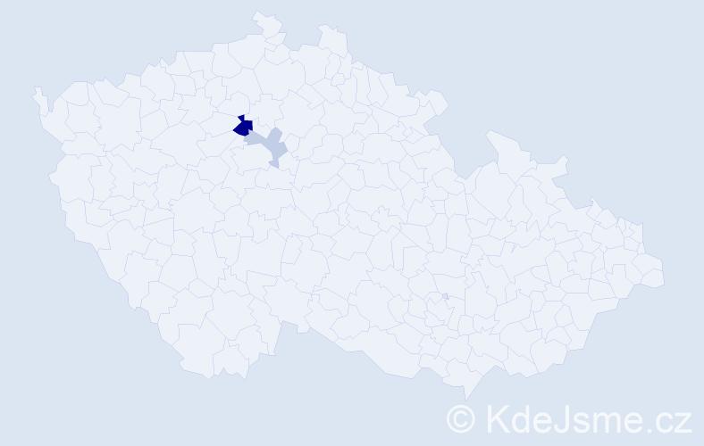 Příjmení: 'Csütörtöky', počet výskytů 5 v celé ČR