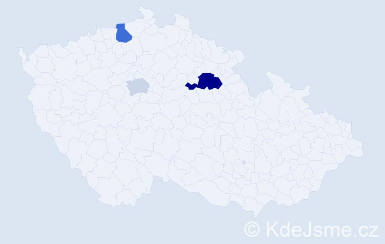Příjmení: 'Holštein', počet výskytů 4 v celé ČR