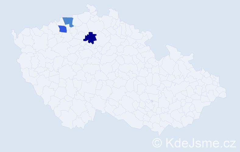 Příjmení: 'Jusl', počet výskytů 3 v celé ČR