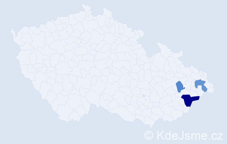 Příjmení: 'Cuhová', počet výskytů 14 v celé ČR