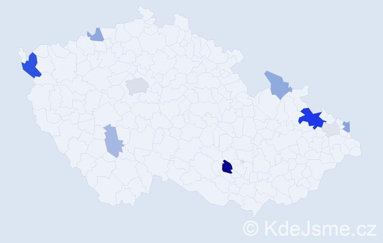 Příjmení: 'Čerevka', počet výskytů 24 v celé ČR