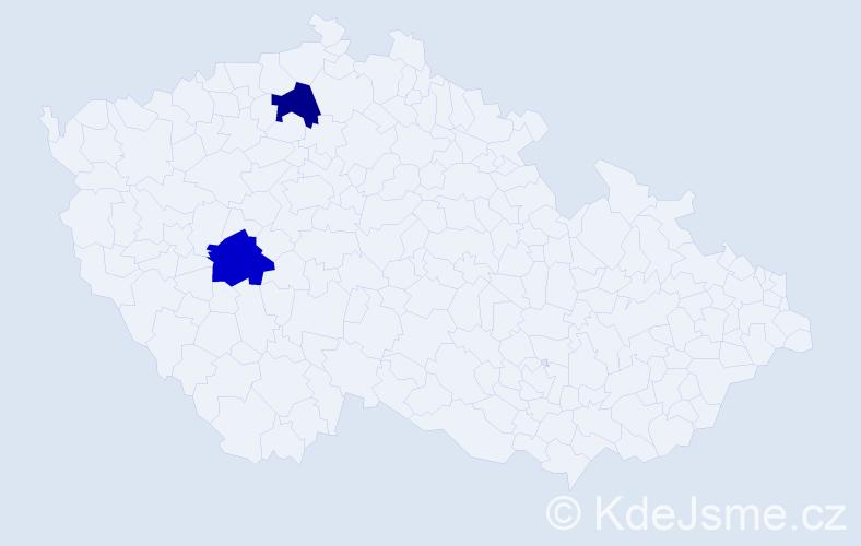 Příjmení: 'Emichová', počet výskytů 2 v celé ČR