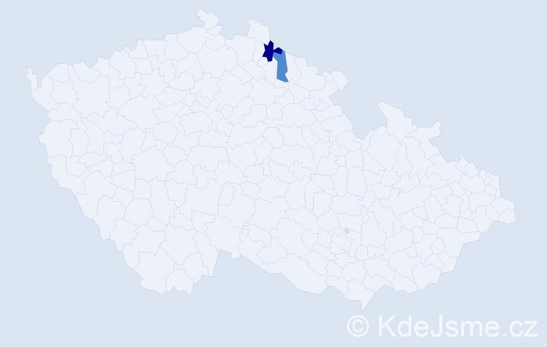 Příjmení: 'Benaglia', počet výskytů 3 v celé ČR