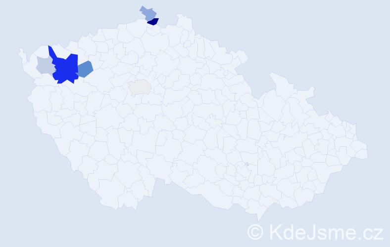 Příjmení: 'Grondzárová', počet výskytů 15 v celé ČR