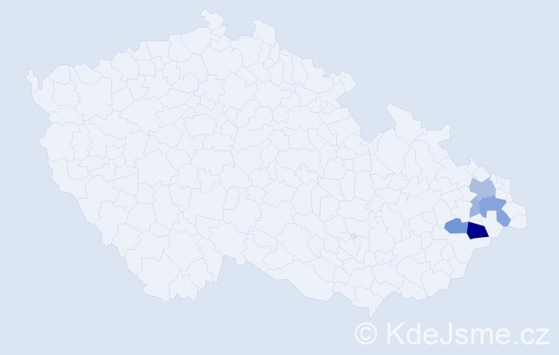 Příjmení: 'Bohušíková', počet výskytů 15 v celé ČR