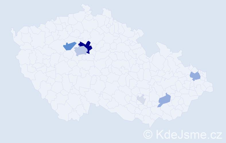 Příjmení: 'Bán', počet výskytů 20 v celé ČR