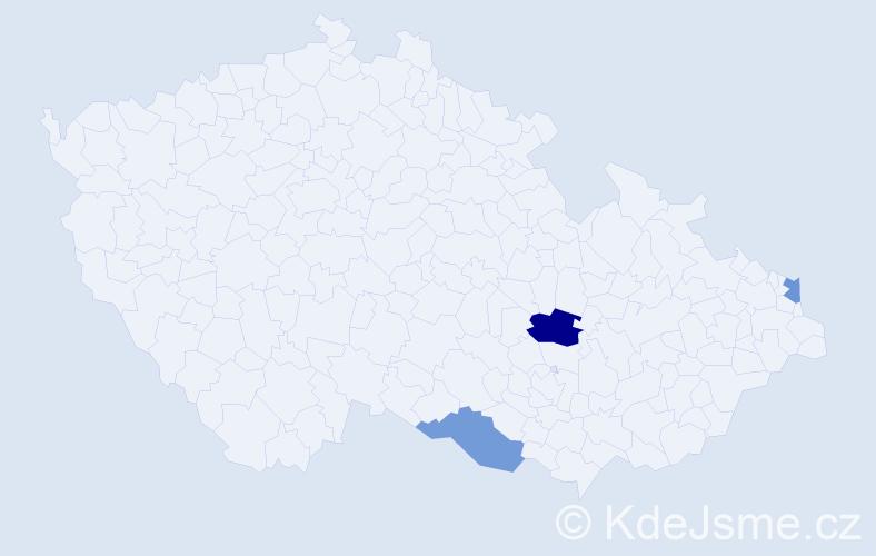 Příjmení: 'Laclaviková', počet výskytů 4 v celé ČR