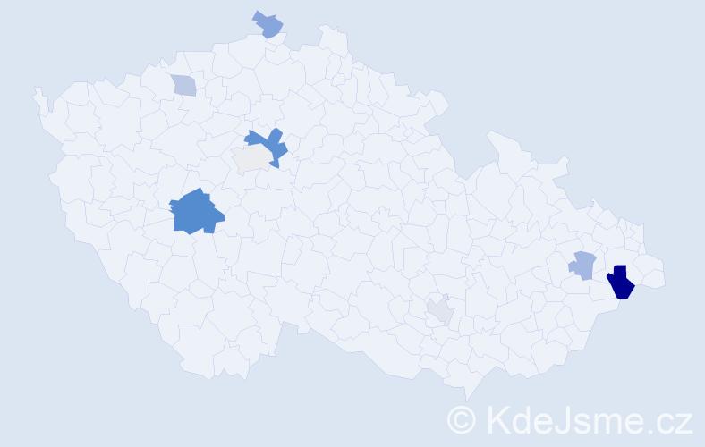 Příjmení: 'Barker', počet výskytů 16 v celé ČR