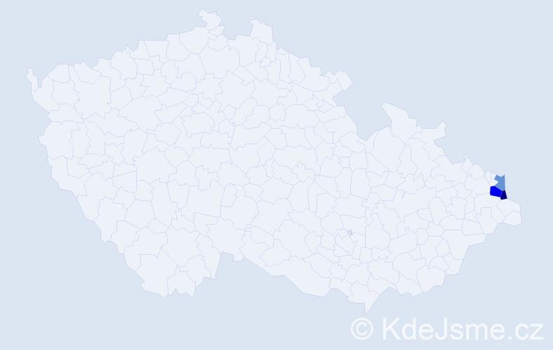 Příjmení: 'Ciepliková', počet výskytů 9 v celé ČR