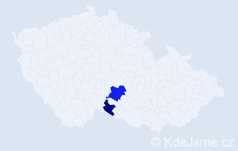 Příjmení: 'Bažó', počet výskytů 4 v celé ČR