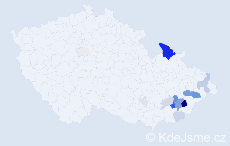 Příjmení: 'Květáková', počet výskytů 42 v celé ČR