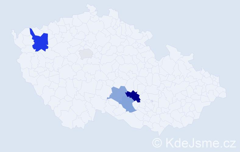 Příjmení: 'Bachr', počet výskytů 8 v celé ČR