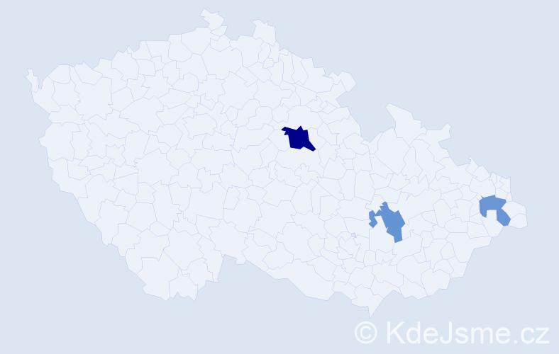 Příjmení: 'Capayová', počet výskytů 5 v celé ČR