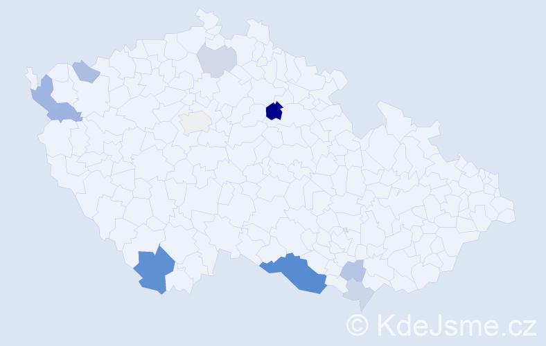 Příjmení: 'Dúcká', počet výskytů 24 v celé ČR