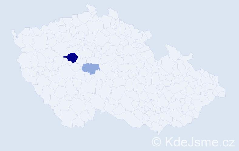 Příjmení: 'Ejsmanová', počet výskytů 6 v celé ČR
