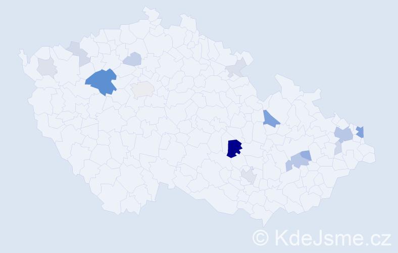 Příjmení: 'Končeková', počet výskytů 47 v celé ČR