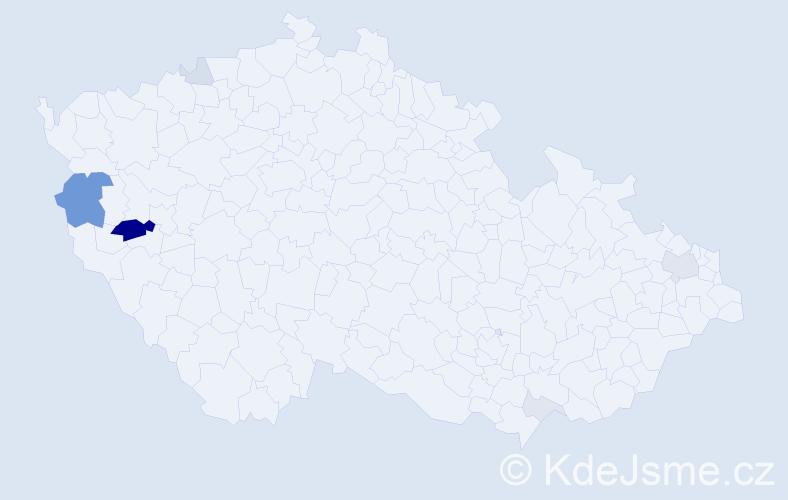 Příjmení: 'Kagánek', počet výskytů 22 v celé ČR