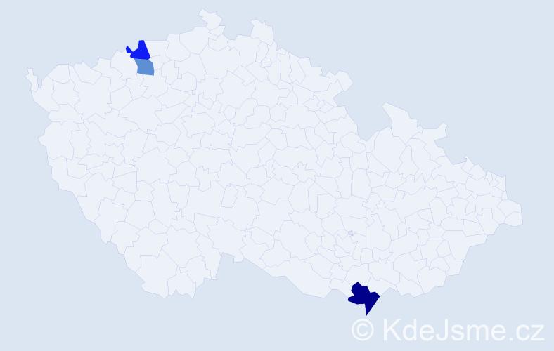 Příjmení: 'Fajtáková', počet výskytů 4 v celé ČR