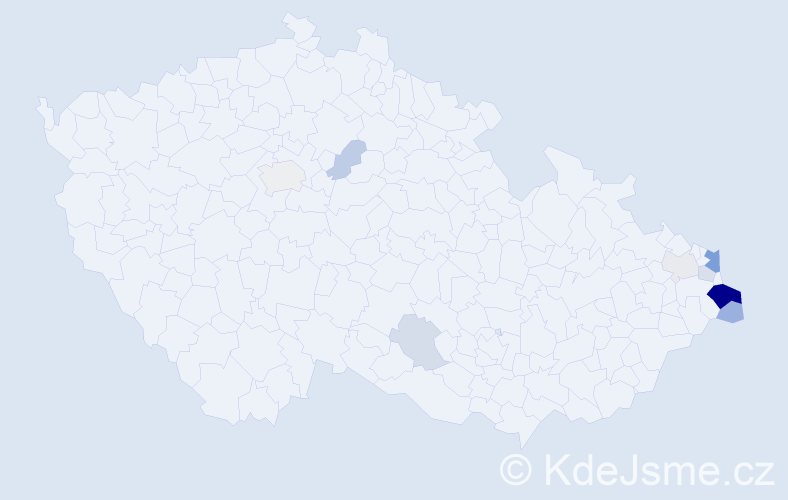 Příjmení: 'Cupková', počet výskytů 25 v celé ČR