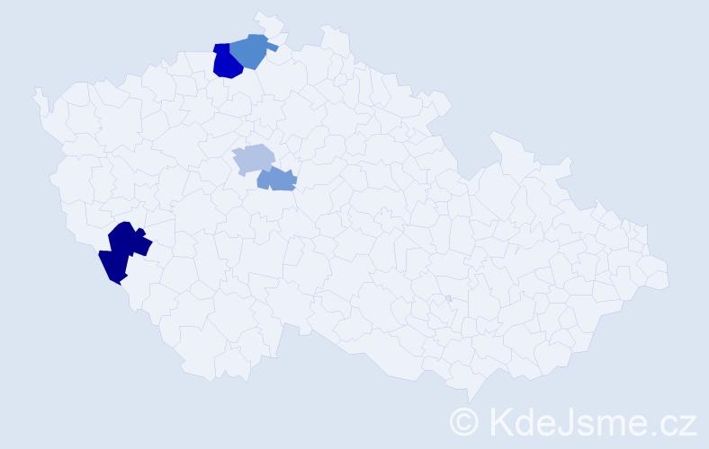 Příjmení: 'Kompertová', počet výskytů 16 v celé ČR