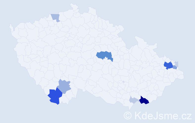 Příjmení: 'Kaločaj', počet výskytů 43 v celé ČR