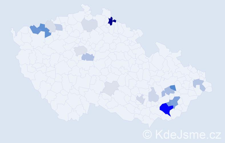 Příjmení: 'Bánovský', počet výskytů 68 v celé ČR