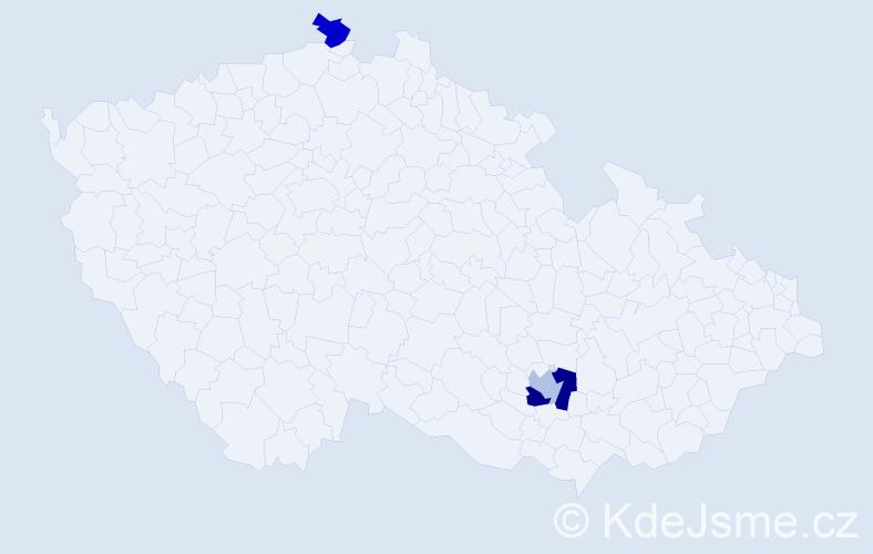 Příjmení: 'Hlodan', počet výskytů 4 v celé ČR