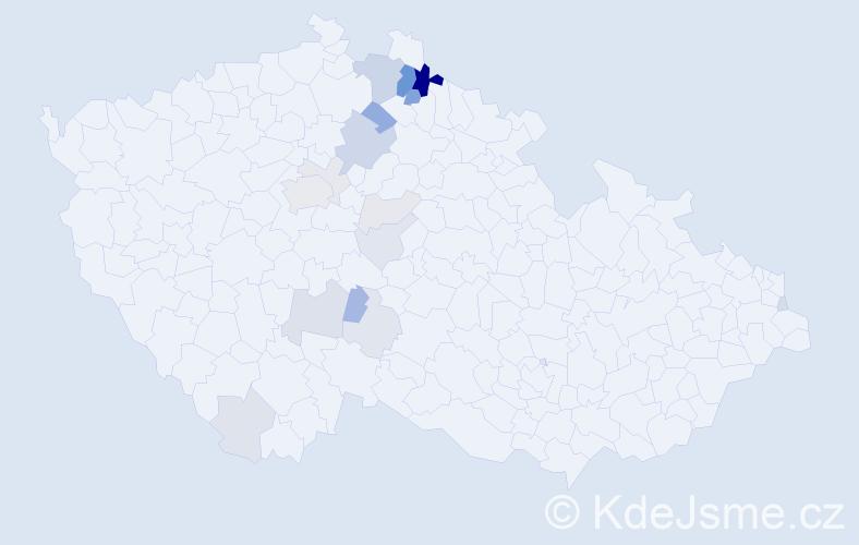 Příjmení: 'Duňka', počet výskytů 56 v celé ČR