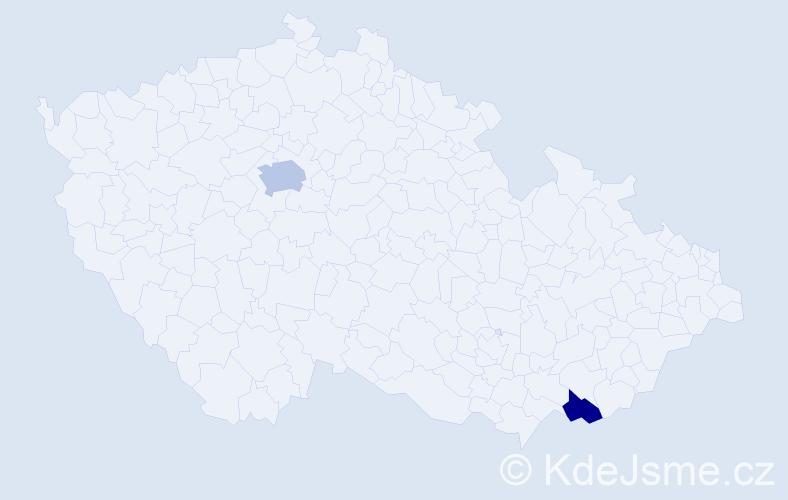Příjmení: 'Kaindl', počet výskytů 3 v celé ČR