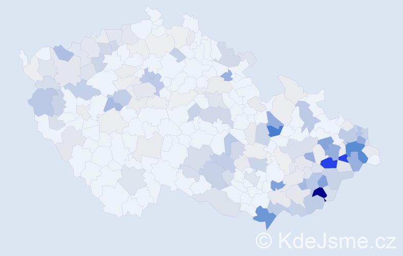 Příjmení: 'Bača', počet výskytů 632 v celé ČR